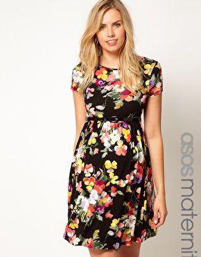 ASOS Maternity | ASOS Maternity Skater Dress In Floral Print With Belt at ASOS