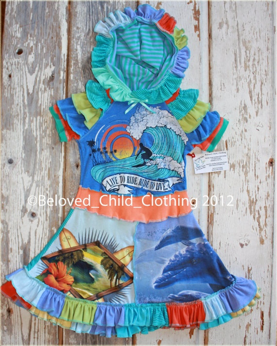 Custom Boutique Surf Beach Upcycled Dress by SummerHouseDesigns, $68.00