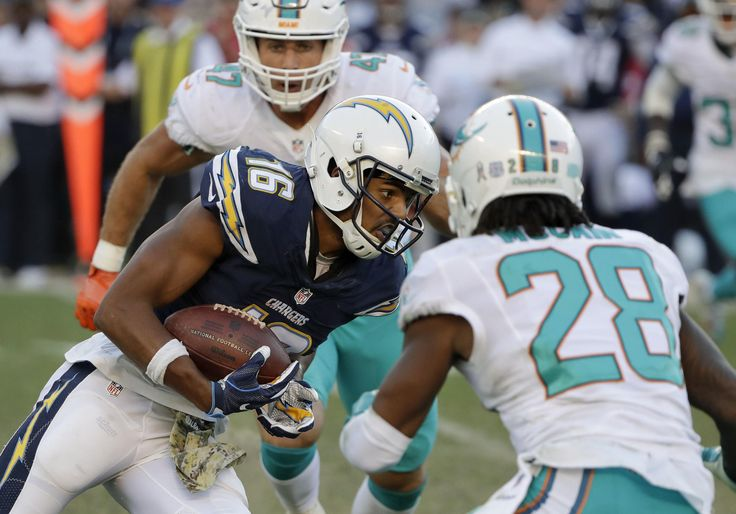 Dolphins vs. Chargers:  31-24, Dolphins  -  November 13, 2016  -   Tyrell Williams runs against the Miami Dolphins during the second half of an NFL football game in San Diego, Sunday, Nov. 13, 2016. (AP Photo/Gregory Bull) AP, GREGORY BULL