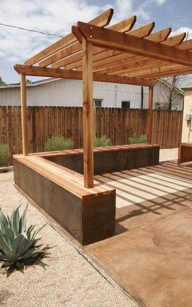 Pergola bench my dream backyard pinterest gardens for Garden decking seating