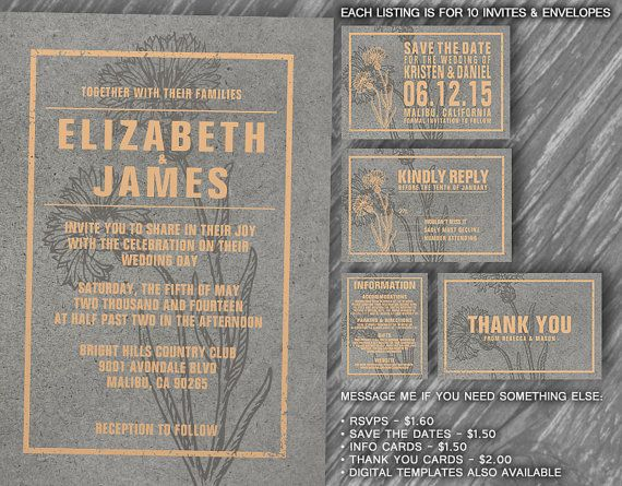 Rustic Peach Wedding Invitation Set/Suite by InvitationSnob