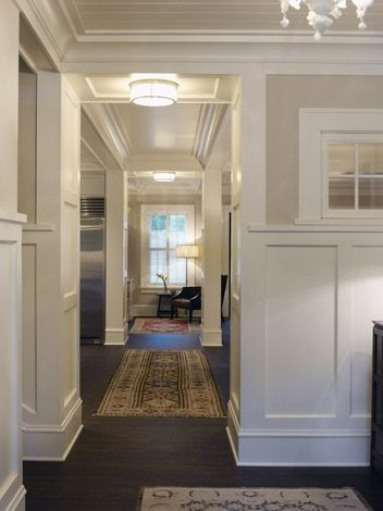 Wainscoting + beadboard ceiling: Picture, Trimwork, Beadboard Ceiling, House Ideas, Wainscoting Beadboard, Dark Floors, Paint Colors