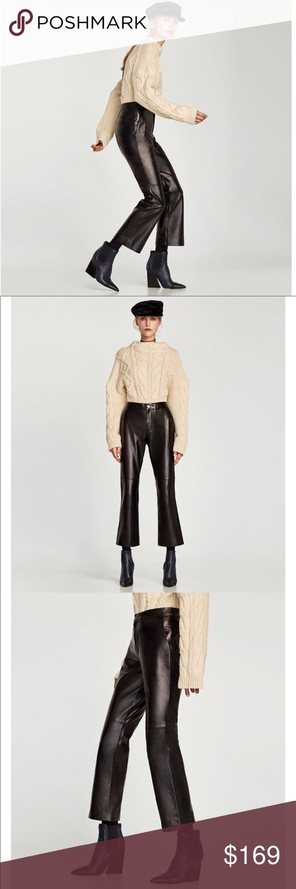 ZARA STUDIO lambskin leather trousers Small ZARA STUDIO lambskin leather trousers Small. Brand new with tags never worn. Soft, buttery genuine lambskin leather fabric. These are just gorgeous! Original retail $299. Limited edition! These are cropped, with a very slight flare, once on it's hard to tell. Zara Pants Ankle & Cropped