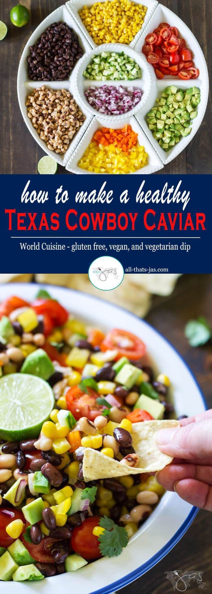 This gluten free, vegan, and vegetarian Texas cowboy caviar recipe is a perfect solution for a healthy dip that is quick to make and feeds a crowd. Mix together black beans, black eyed peas, corn, tomatoes, peppers, onions, avocado, cucumber, and cilantro