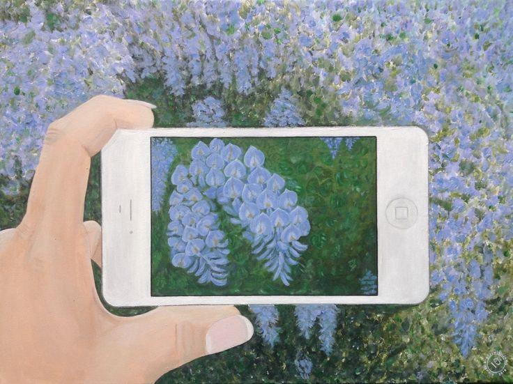 Blauwe regen, wisteria, Phone, iphone, hand, painting,