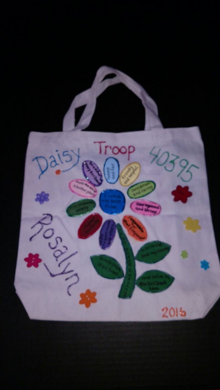 I wanted to share my creation!  A Daisy girl scout canvas bag.  Come in packs of three at your local Walmart for about $8.  I used  puffy fabric paint.  Made a stencil for the flower parts.  Also bought flower buttons to sew on. The rest is hand written with the paint.  I made one bag for each member of the troop!  Adaptable for each girl scout level! Enjoy!