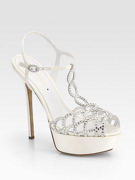 Sergio Rossi Bridal Crystal Coated Satin T Strap Sandals On Style Sergiorossi