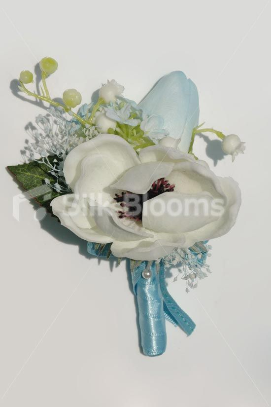Fresh Touch White Anemone & Blue Tulip Grooms Wedding Buttonhole