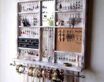 Organizador de joyas con estante. Pendientes de mostrar pared sostenedor del collar montado. Almacenamiento de joyería. Mancha azul aqua. Soporte para pendientes. Pulsera con barra por FineArtHolders