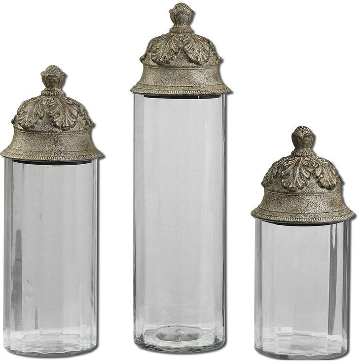Crystal Canister Sets | Acorn Glass Cylinder Canisters (Set Of 3) |  Overstock. Traditional KitchensDecorative ...