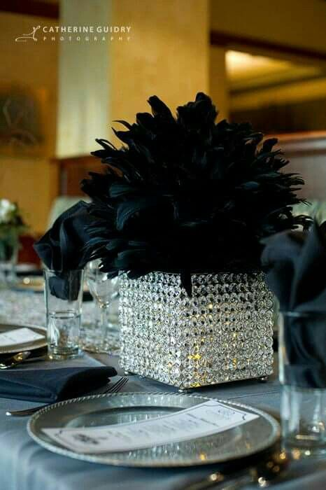Lighted Feather Vase Decor