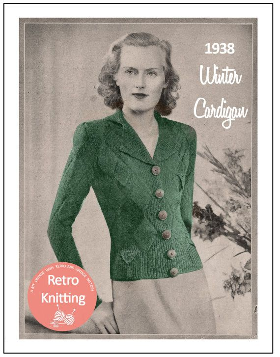 1930s Winter Cardigan Vintage Knitting Pattern  от MyVintageWish