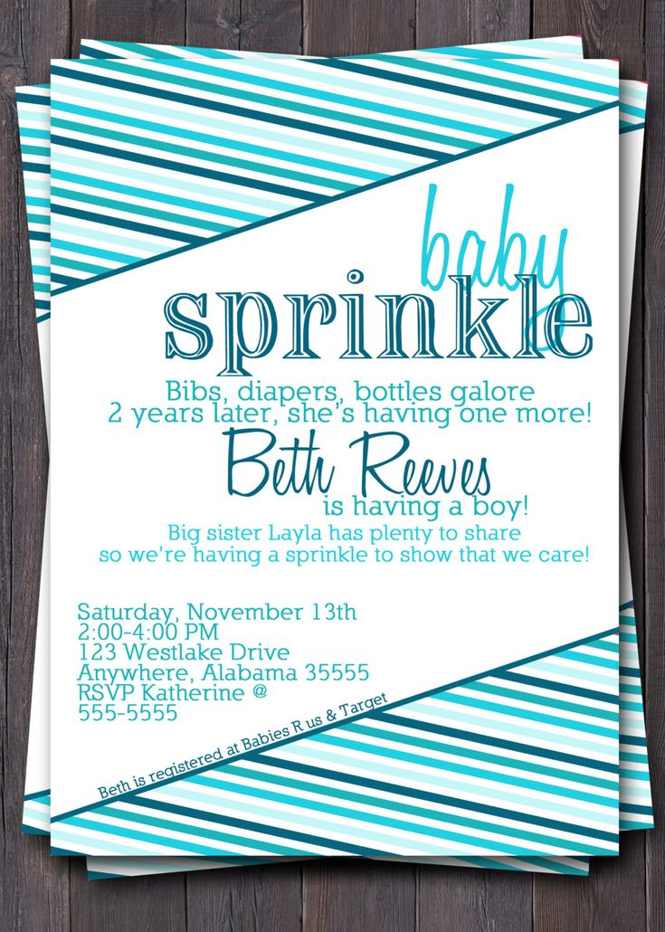 Ombre Baby Sprinkle/Shower Invitation/Invite.  Modern stripes.  Pink, Blue, Green, Custom any color.. $12.00, via Etsy.