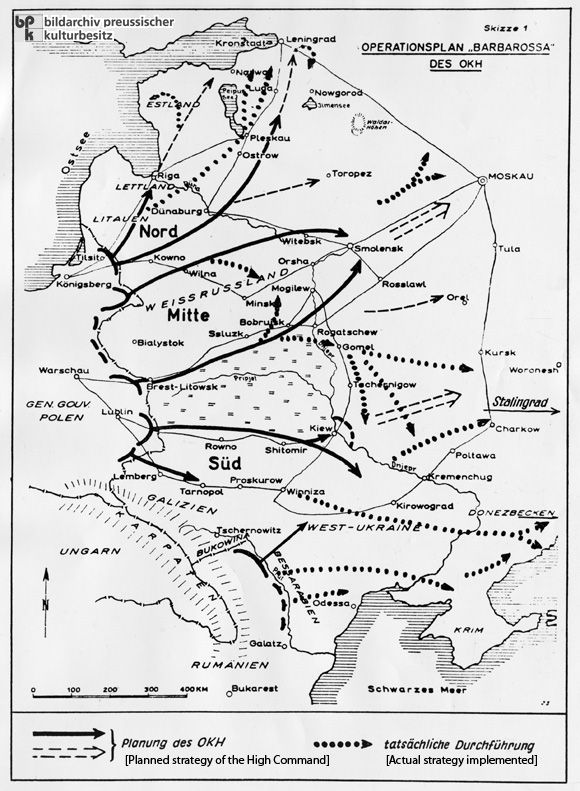 The Army High Command's Plan for Operation Barbarossa: Cartographic Illustration of the Planned Strategy and the Actual Strategy Implemented (1941)