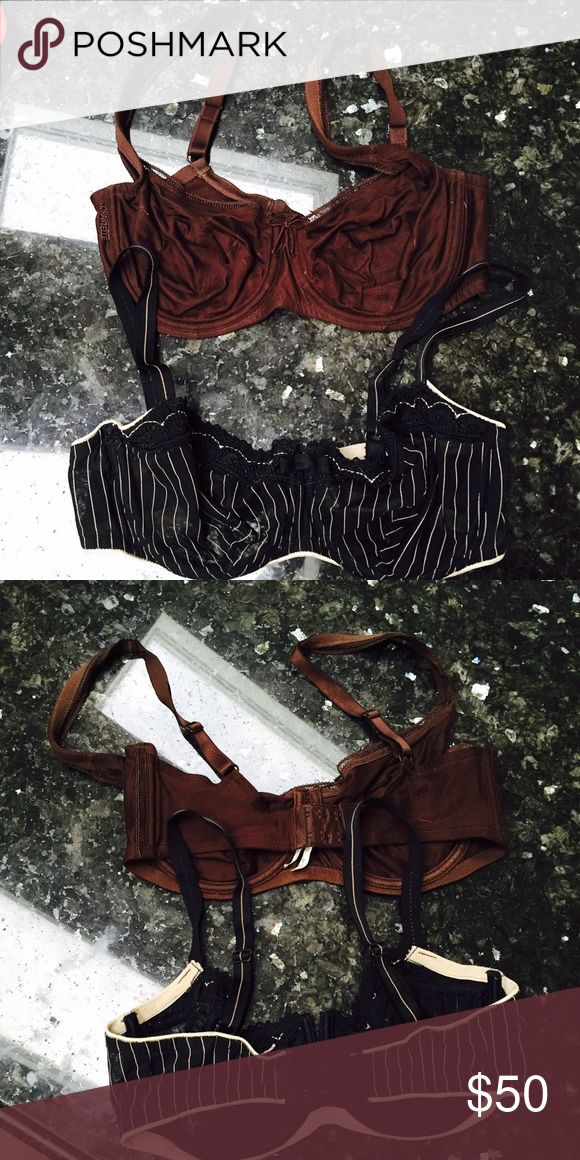 CHANTELLE Underwire bras 36DD Only worn once and dry cleaned . Chantelle Bras , Underwire , No padding, thin material. 36DD one is brown and one is black with stripes. Both retail for 100$ each so 200$ value. Chantelle Intimates & Sleepwear Bras