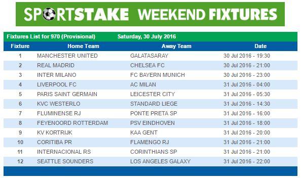 Sportstake 13 Weekend Fixtures 20 April 2019
