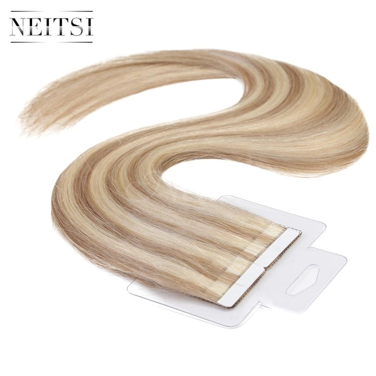 """Neitsi Tape In Skin Weft Ombre Glue Hair Extensions 100% Indian Virgin Remy Human Hair Extensions 16"""" 18"""" 20"""" 22"""" P18/613#"""
