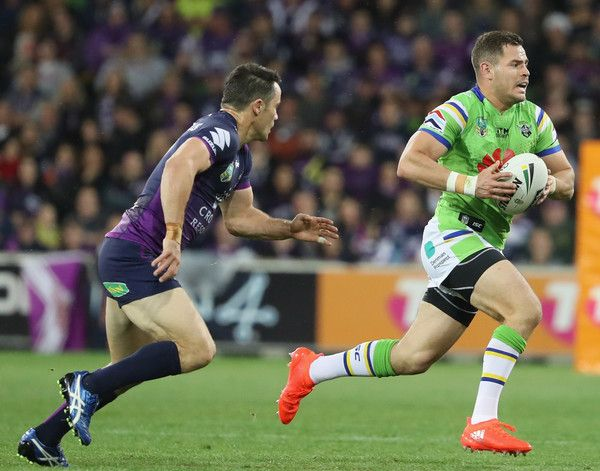 Aiden Sezer of the Raiders runs with the ball during the NRL Preliminary Final match between the Melbourne Storm and the Canberra Raiders at AAMI Park on September 24, 2016 in Melbourne, Australia.