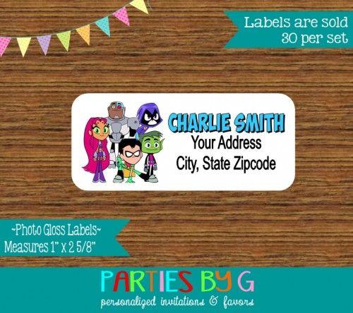 Teen Titans Return Address Gloss Labels Personalized Custom