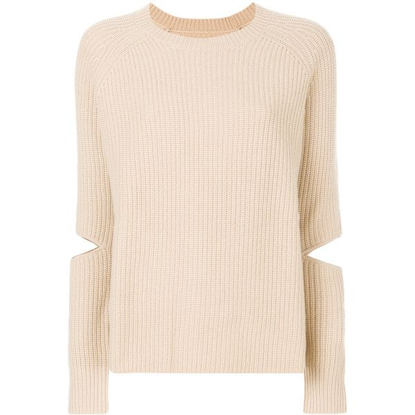 Zoe Jordan cut-out detail jumper (465 CAD) ❤ liked on Polyvore featuring tops, sweaters, nude, jumpers sweaters, cut-out shoulder tops, cut out jumper, cut out detail top and cutout tops