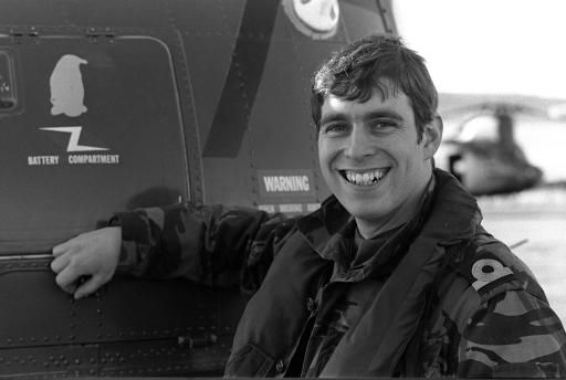 The Duke of York (then Prince Andrew) at Port Stanley whilst serving as a helicopter pilot with HMS Invincible.© Press Association