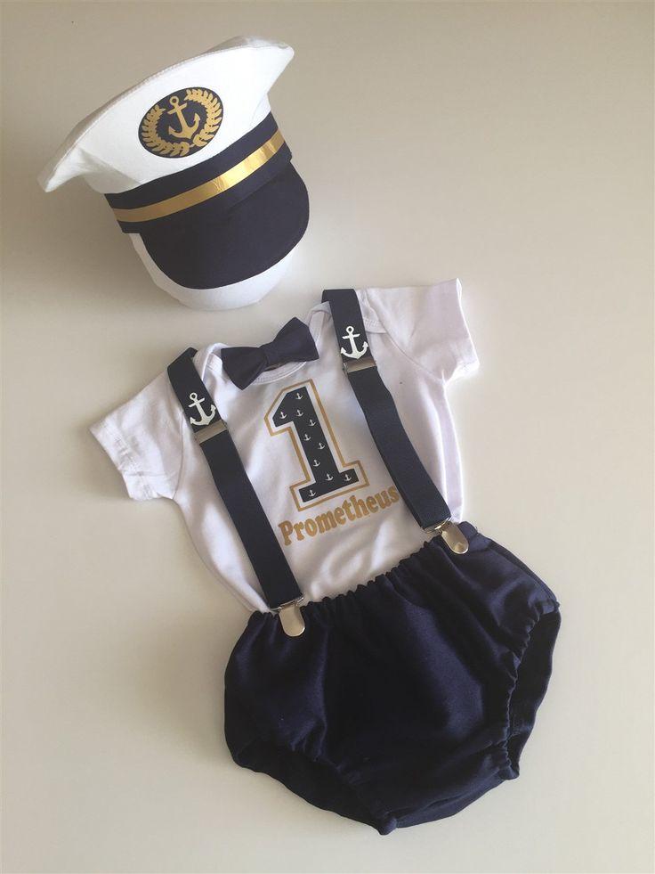 Elite ship captain boys cake smash outfit by bubbling