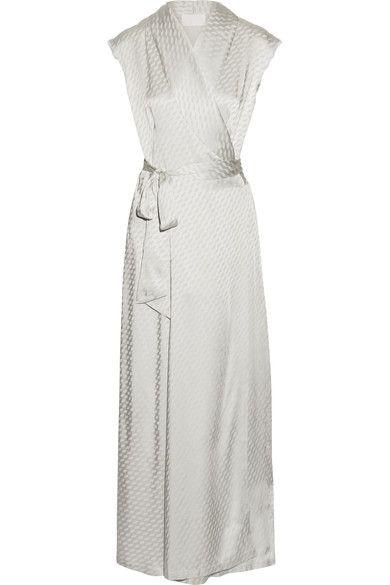 Maison Margiela - Satin-jacquard Wrap Maxi Dress - Silver - IT