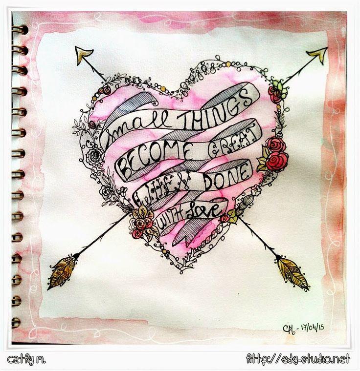 Cathy Art Journal Page http://originaldoodle.blogspot.fr/2015/05/challenge-1-heart.html