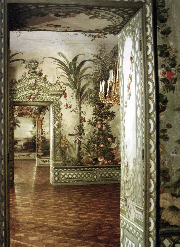 Goëss Apartment - Schönbrunn Palace, Austria - Vienna. paintings by Johann Wenzel Bergl and his studio between 1774 and 1778. The World of Interiors