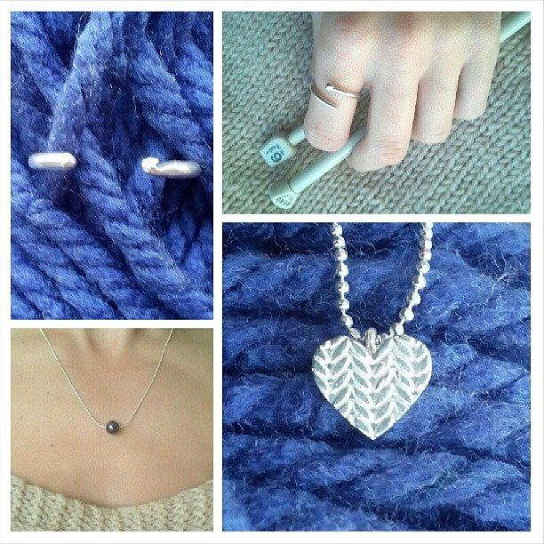 Knitting Inspired Jewellery by Slashpile Designs #slashpiledesigns #sterlingsilver #knitting #knit