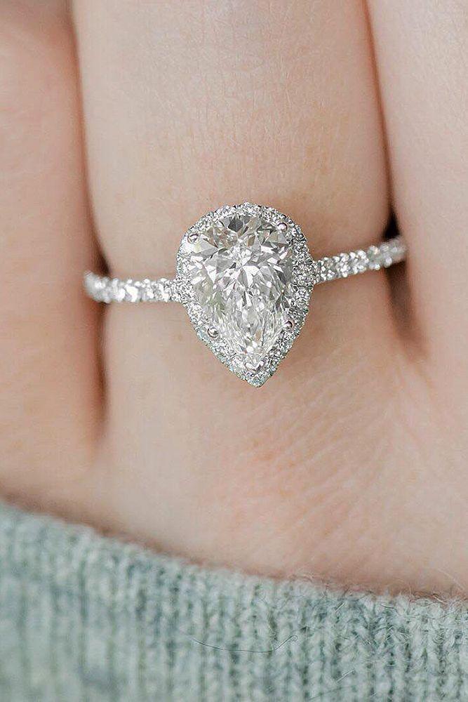 Teardrop Diamond Ring Pear Shaped Engagement Rings Heart Engagement Rings Titanium Wedding Rings