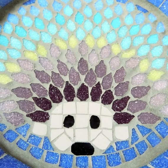Rainbow Hedgehog Mosaic Garden Bird Bath Yard Decoration