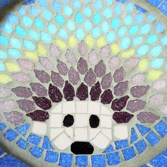 Rainbow Hedgehog Mosaic Garden Bird Bath Yard Decoration