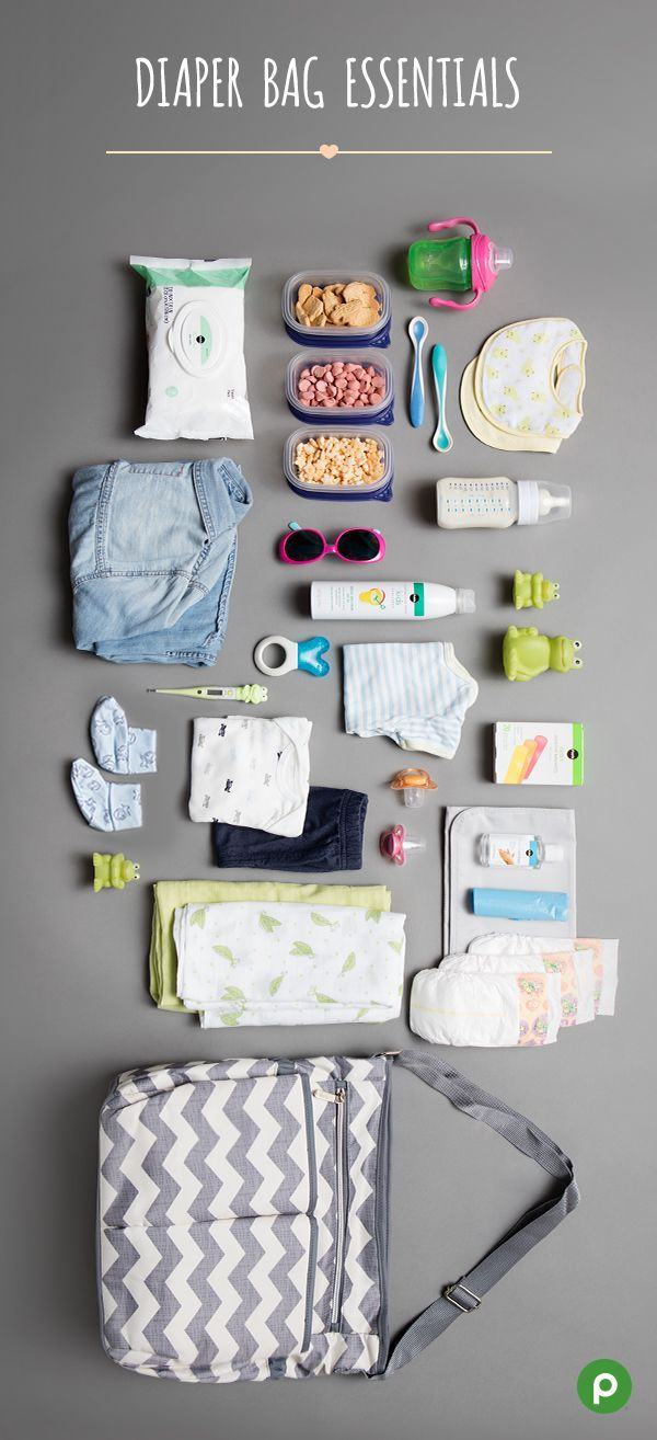 Our Publix Baby Club's favorite diaper bag essentials: diapers, wipes, hand sanitizer, changing pad, biodegradable bags, snacks, sippy cup, blanket, change of clothes (for both of you), pacifier, sunscreen and hat, teething ring, and first aid kit.