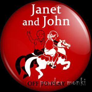 "Janet & John ""Off To Play"" - Badge/Magnet ~ www.powdermonki.co.uk ~ £0.99"