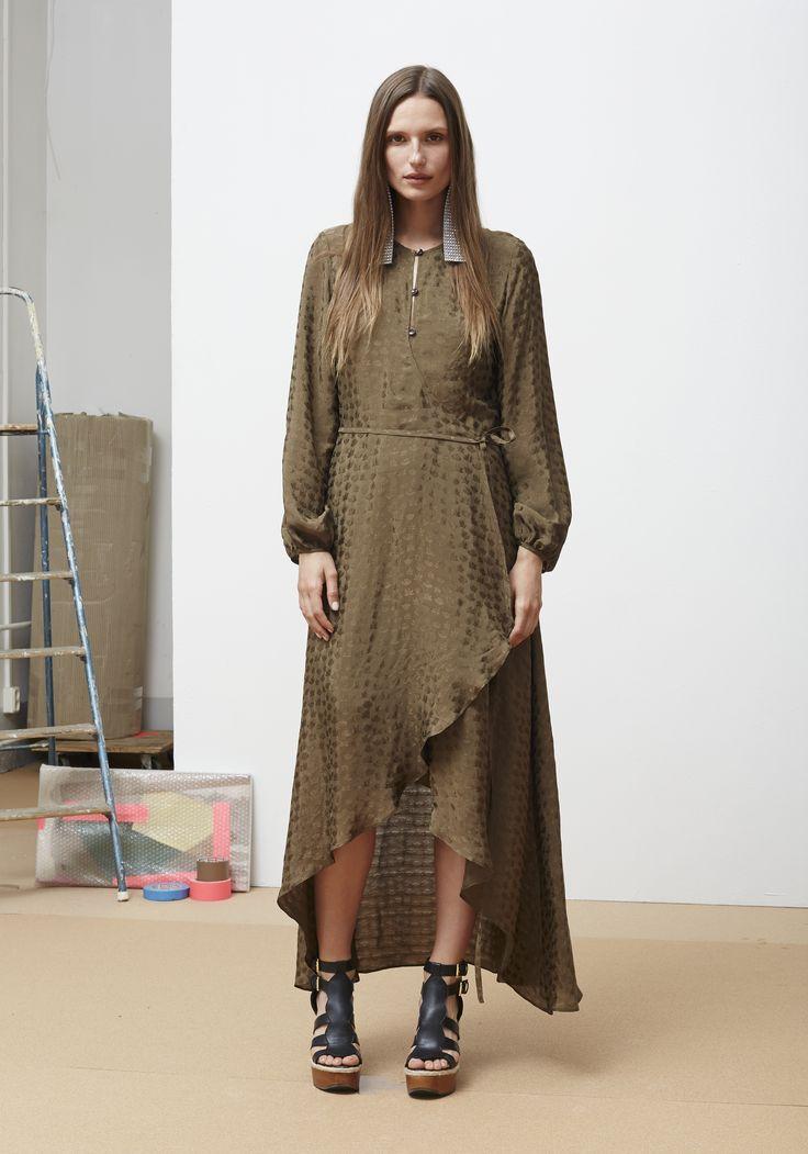 Rodebjer SS16: Dress Regina Mud Green, Shoes Juliana Black.