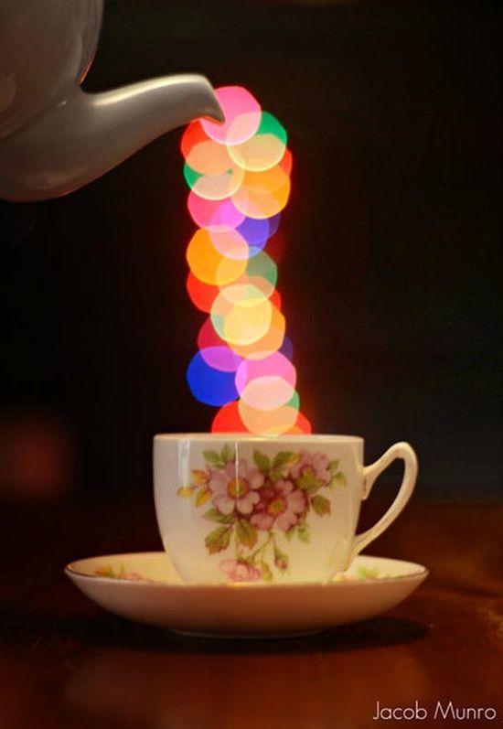 Energia positiva em uma doce xícara de chá