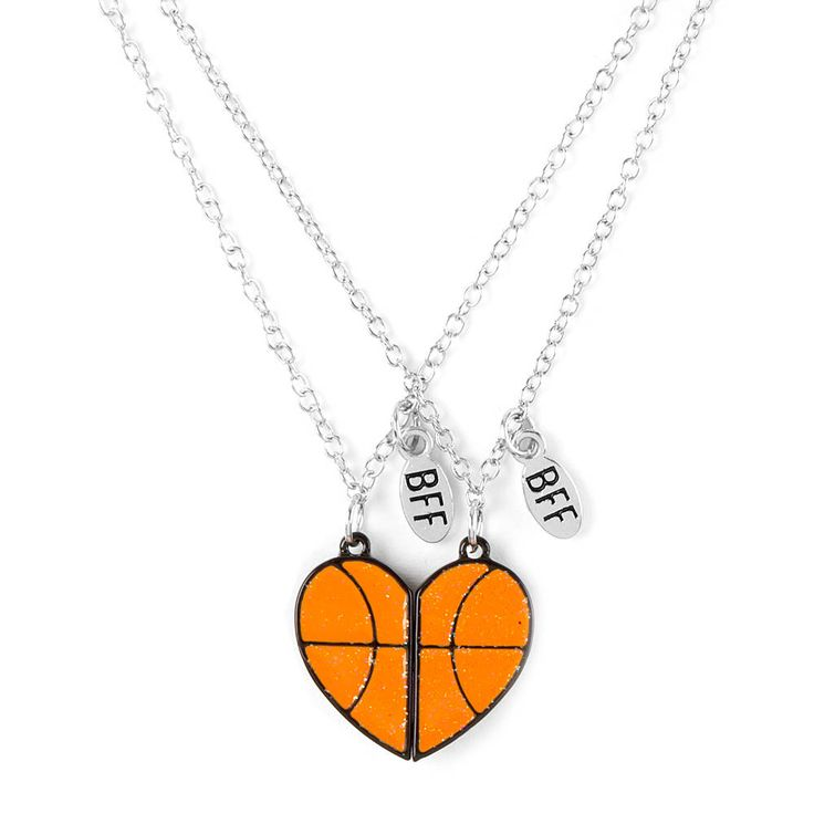Best Friends Half Hearts Basketball Pendant Necklaces