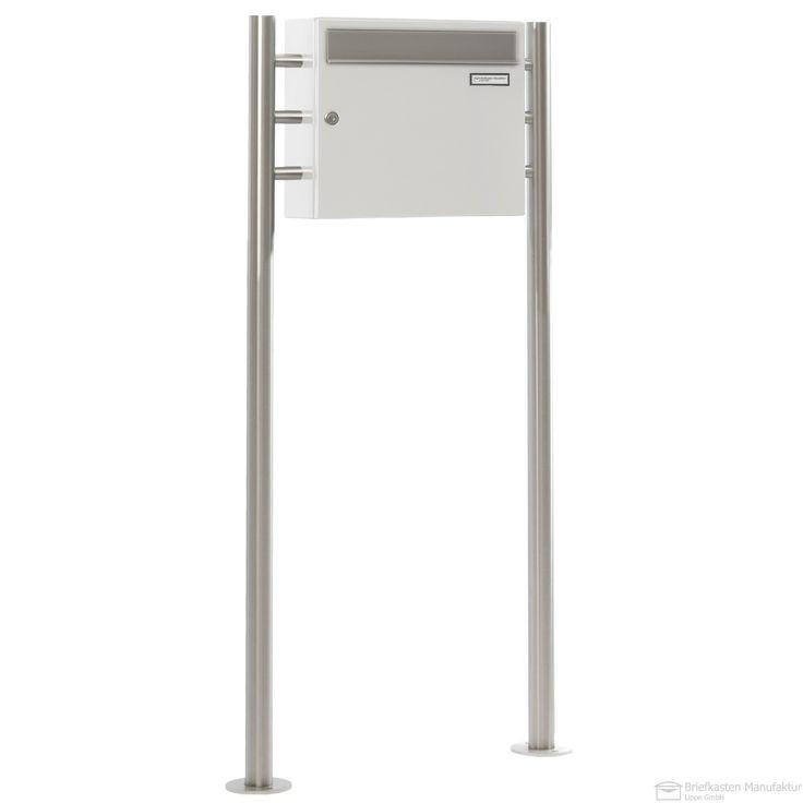 Standbriefkasten PREMIUM-ELEGANCE - Edition Einwurf Edelstahl - Weiss 9016