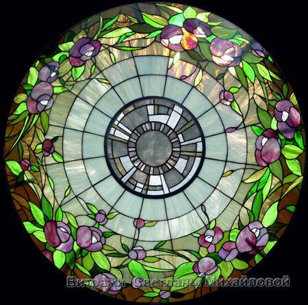 """Витражный потолок """"Фиолетовые цветы"""""""