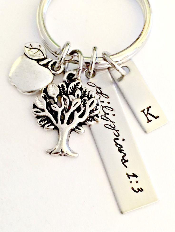 Personalized Teacher Keychain - End of the Year Gift - Instructor Appreciation -Apple, Tree, Custom Disc & Initial Tag - Teacher's Aid Gift by ForeverHeartPrints on Etsy