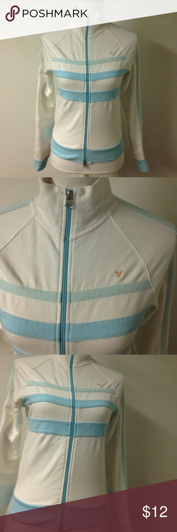 American Eagle Jacket pastel colors Double front zipper Made with 96% cotton and 4% spandex Super cool Embroidered eagle logo in front. Blue strips, is so beautiful! American Eagle Outfitters Jackets & Coats