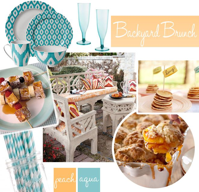 A brunch inspired by peach and aqua with striped straws and french toast kabobs!? Im totally there!