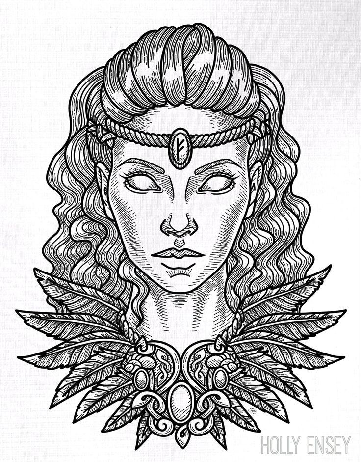 Viking/Norse goddess Freya line art illustration by Holly Ensey. Freya is the go… – Lizzie Lona