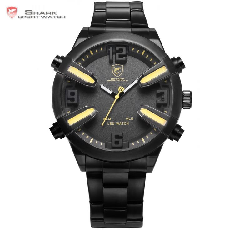 (31.61$)  Buy here  - Dogfish Shark Sport Watch Yellow Date Alarm LED Dual Time Stainless Steel Bracelet relogio masculino Men's Wrist Watches /SH322