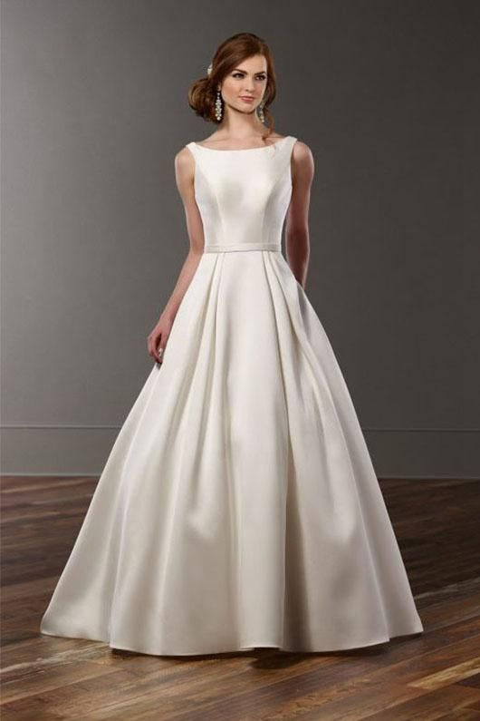 A Line Sleeveless Long Satin Bridal Wedding Dresses In 2019