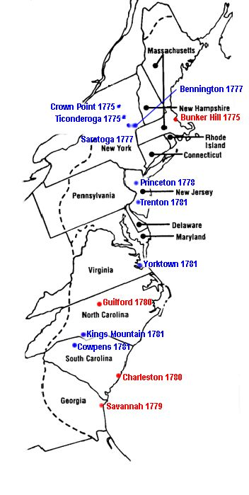 print. map revolutionary war battles | show) Revolutionary War battle site map. This is a more detailed map ...