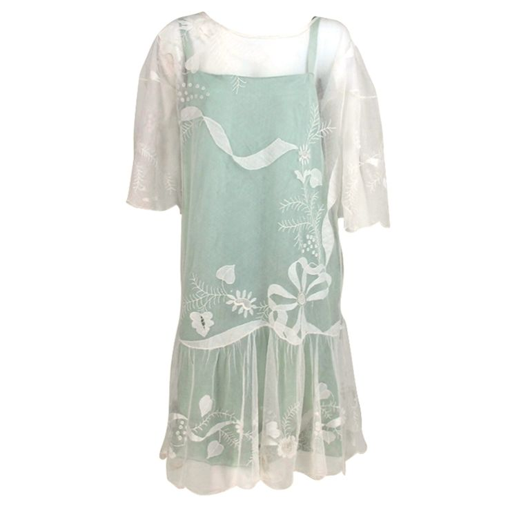 1920s Gatsby era embroidered tulle tea/wedding dress | From a collection of rare vintage day dresses at https://www.1stdibs.com/fashion/clothing/day-dresses/