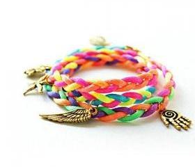 multicolored bracelets!