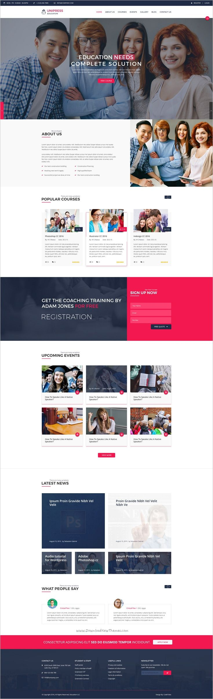 Unipress is a clean 2 in 1 #PSD #Template suitable for Educational #School, #College and university website download now➩  https://themeforest.net/item/unipress-education-psd-template/18664920?ref=Datasata